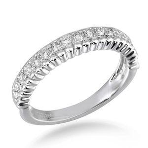 Solid 14K White Gold Diamond Wedding Band Jewelry